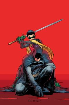 Art by Frank Quitely. Batman & Robin (Dick Grayson and Damien Wayne)