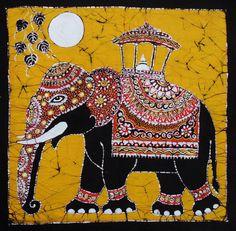 Elephant, batik painting/art, batik artist Rosi Robinson