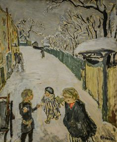 Pierre Bonnard - Road in Snow with Children Playing, 1907 at Staatliche Kunsthalle Karlsruhe Germany