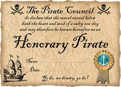 Honorary Pirate Certificate (Ready to personalise)