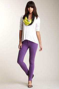 purple jeans with bright yellow or chartreuse scarf