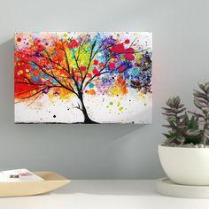 Latitude Run 'Rainbow Tree II' Painting Print on Canvas Diy Canvas, Canvas Art, Canvas Prints, How To Paint Canvas, Canvas Size, Canvas Ideas, Large Canvas, Painting Prints, Watercolor Paintings