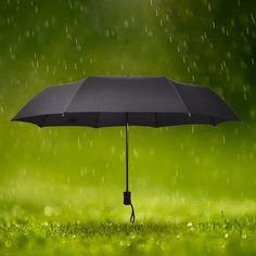 Automatic Folding Umbrella 8-Rib Strong Windproof Super Wide 100cm Outdoor Handle Black Women Rain Umbrellas Hot  Free Shipping #Affiliate