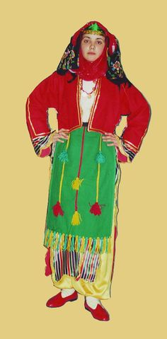 Traditional festive village costume from Dinar (province of Afyon). Style: mid 20th century. This is a recent workshop-made copy, as worn by folk dance groups.