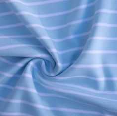 Bio Interlock-Jersey breite Streifen hellblau