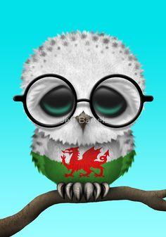 Nerdy Welsh Baby Owl on a Branch by Jeff Bartels