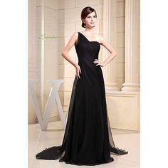 Black one shoulder holiday dress, homecoming dress, Black A-line One Shoulder Floor Length Chiffon Imitated Silk Ruffles Sequins Dress