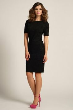 Paper Dolls Black 3/4 Sleeve Floral Textured Bodycon Dress
