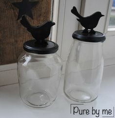 ● Pure by me ●: Hippe potjes (DIY) en bedankje.. Glass Jars, Mason Jars, Pots, Bottles, Water Bottle, Creativity, Gift Wrapping, Diy Crafts, Pure Products