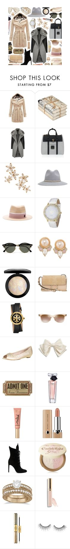 """Outerwear"" by tara-omar ❤ liked on Polyvore featuring GO Home Ltd., River Island, Henri Bendel, Bonheur, YOSUZI, Maison Michel, Ray-Ban, Carolee, MAC Cosmetics and Chloé"