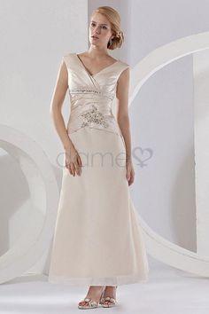 V-Ausschnitt Mitte Rücken A Linie zwei Teile Satin elegantes & luxuriöses zierliches Brautmutterkleid