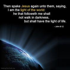 Jesus is the light of the world! John 8:12 http://SeekingTheTruth.org/JesusSaves