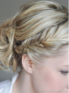 The Small Things Blog: French Fishtail to a Messy Bun Hair Tutorial