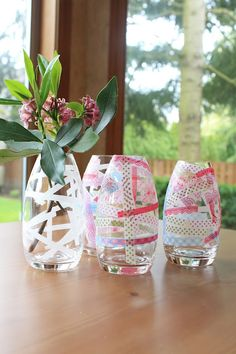 #washi tape vases we made for mother's day from www.quiltish.blogspot.com