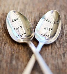 What a great gift idea for the new couple!  Brides-to-be, put these beautiful teaspoons on your registry! And with a cute message, too!