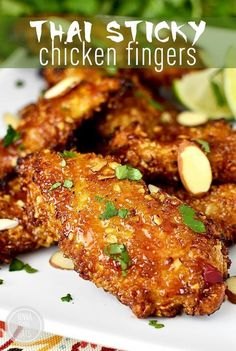 Gluten-Free Thai Sticky Chicken Fingers are crunchy, sticky, and irresistible – perfect for game day! Capital Duh-eyeing over today's recipe for gluten-free Thai Sticky Chicken Fingers, which are going to be a smash hit at your Super Bowl watching party. Asian Recipes, Healthy Recipes, Healthy Meals, Thai Food Recipes, Asian Foods, Tamarind Recipes, Fast Recipes, Dinner Healthy, Noodle Recipes