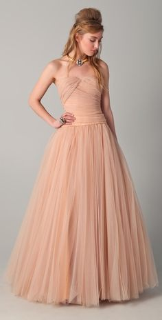 Reem Acra Strapless Tulle Gown