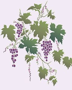 I'd love this painted on the wall in a future kitchen of mine. Tree Stencil, Stencil Painting, Fabric Painting, Flower Stencils, Stenciling, Stencil Templates, Stencil Designs, May Arts, Vine Leaves