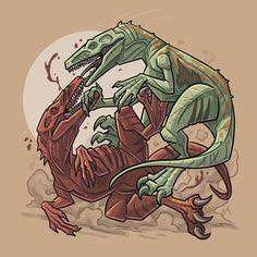 "It's a ferocious battle of tooth and claw on Day 17 of #jurassicjuly! Today we have two versions of @mattel's JWFK Herrerasaurus duking it out! In green, the Wave 1 ""Battle Damage"" Herrerasaurus, and in red, the Wave 2 ""Attack Pack"" Herrerasaurus! . #jurassicpark #jurassicjune #jurassicworld #fallenkingdom #lostworld #paleoart #jurassic #art #matteljurassicworld #kenner #dinosauraday #toy #kennertoys #illustration #digital #kenner #mattel #dinoart #dino #jwfk #hasbro #herrerasaurus"