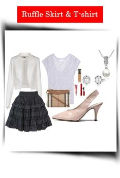 The Accessories That Will Update a Ruffle Skirt and Grey T-Shirt for an Informal Presentation
