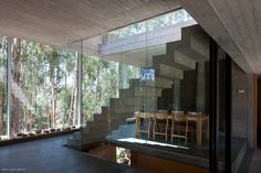 concrete stairway, concrete + glass house. Omnibus House by Gubbins Arquitectos