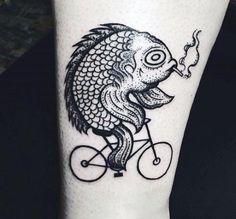 Bike fish tattoo