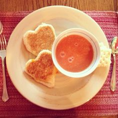 Cute valentines dinner. Red tomato soup and heart shaped grilled cheeses!