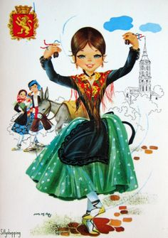 Vintage Big Eyed Spanish Girl Souvenir Postcard | por Sillyshopping