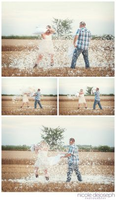 Engagement Session, Feather Pillow Fight, Country, Farm, Photography Nicole DeJoseph Photography | Chatham Ontario Wedding Photographer