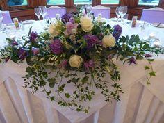 #StAudriesPark #TopTable #Flowers #Wedding #Venue Small Wedding Bouquets, Wedding Reception Flowers, Wedding Flower Decorations, Flower Centerpieces, Wedding Centerpieces, Purple And Gold Wedding, Purple Wedding Flowers, Floral Wedding, Wedding Top Table