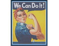 Rosie The Riveter - Counted Cross Stitch Pattern (X-Stitch PDF) by HornswoggleStore on Etsy https://www.etsy.com/listing/219740261/rosie-the-riveter-counted-cross-stitch