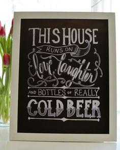 Kitchen Chalkboard - Beer Print - Chalkboard Art -Kitchen Print - Chalk Art - Bar Print - Bar Decor - Beer Lovers - Beer Art - (15.00 USD) by Sugarbirdprints