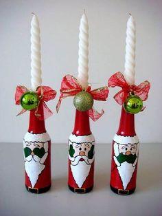 Wine Cork Crafts, Wine Bottle Crafts, Bottle Art, Christmas Deco, Christmas Crafts, Christmas Wine Bottles, Painted Wine Bottles, Decorated Bottles, Homemade Christmas Gifts