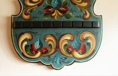 Beautiful Norwegian Rosemaling in Romsdal Style on a Woden
