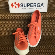 Superga Salmon Shoes Superga salmon tennis shoes. Brand new in the box. Too big for me. Super cute! Never worn. Size 7, run large. More like 7 1/2. Superga Shoes Sneakers