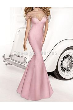 Free shipping Elegant High Backless Beading Pink Prom dresses 2014 Mermaid Floor Length Evening Gowns 2014 New Style $136.00