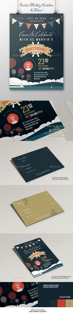 Nautical Birthday Invitation & Postcard Template #design Download: http://graphicriver.net/item/nautical-birthday-invitation-postcard/12317852?ref=ksioks