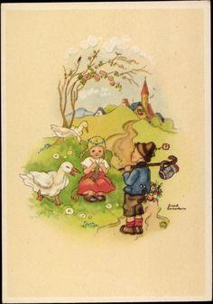 Artist Postcard Lauterborn, Liesel, Mädchen strickt, Gänse, Wanderer