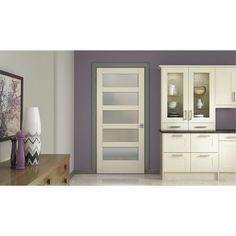 MODA Primed PMT1055 Solid Core Wood Interior Door Slab w/Translucent Glass  sc 1 st  Pinterest & Krosswood Doors 28 in. x 80 in. Shaker 5-Panel Primed Solid Core MDF ...