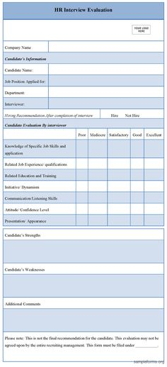 Interview Assessment Forms Interviews Sample Interview Assessment