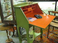 C. Dianne Zweig - Kitsch 'n Stuff: Update A Vintage Lady's Drop Down Desk With Hip Painted Colors Of Citrus Orange And Apple Green