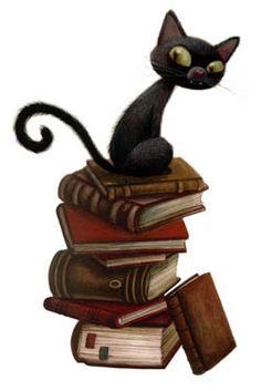 """""""Los libros y los gatos""""  -Ilustración de Benjamín Lacombe"""