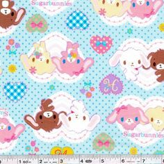They're here! The next collection of licensed Sanrio Japan prints has arrived! The adorably sweet Sugarbunnies exchange flower bouquets and other gifts on this sweet print. This quilting weight Japanese fabric is 100% cotton and is 43/44