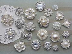 Crystal rhinestone pearl embellishments flat by isakayboutique, $0.99