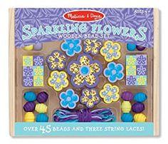 Amazon.com: Melissa & Doug Sparkling Flowers Wooden Bead Set: 45+ Beads and 3 Lacing Strings: Melissa & Doug: Toys & Games