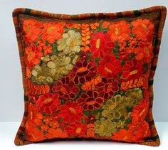 folk art, mexican hand made embroidered pillow