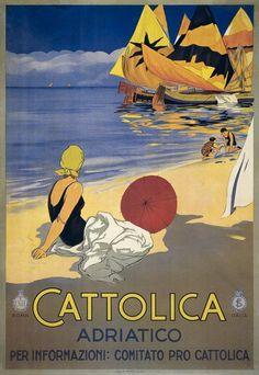Cattolica Adriatico. Vintage Italian travel poster for the Adriatic coast. Circa 1920s.