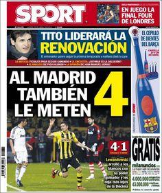 Los Titulares y Portadas de Noticias Destacadas Españolas del 25 de Abril de 2013 del Diario Deportivo Sport ¿Que le parecio esta Portada de este Diario Español?