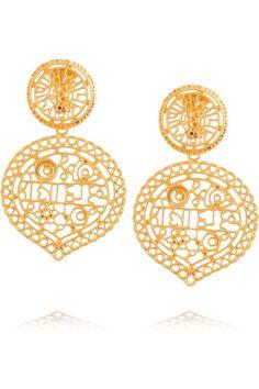 Kenneth Jay Lane Gold-plated filigree clip earrings