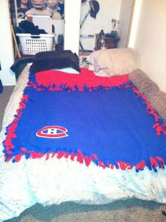 Have a hockey fan in your life? Why not order this custom made Montreal Canadiens super soft fleece tie blanket for them? Perfect gift for the hockey season! Have another team in mind? Request a custom order!